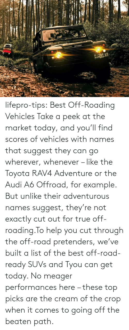 names: lifepro-tips: Best Off-Roading Vehicles Take a peek at the market today, and you'll find scores of vehicles with names that suggest they can go wherever, whenever – like the Toyota RAV4 Adventure or the Audi A6 Offroad, for example. But unlike their adventurous names suggest, they're not exactly cut out for true off-roading.To help you cut through the off-road pretenders, we've built a list of the best off-road-ready SUVs and Tyou can get today. No meager performances here – these top picks are the cream of the crop when it comes to going off the beaten path.