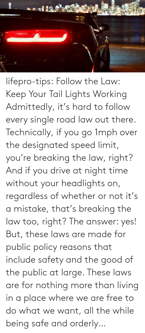 public: lifepro-tips: Follow the Law: Keep Your Tail Lights Working Admittedly, it's hard to follow every single road law out there. Technically, if you go 1mph over the designated speed limit, you're breaking the law, right? And if you drive at night time without your headlights on, regardless of whether or not it's a mistake, that's breaking the law too, right? The answer: yes! But, these laws are made for public policy reasons that include safety and the good of the public at large. These laws are for nothing more than living in a place where we are free to do what we want, all the while being safe and orderly…