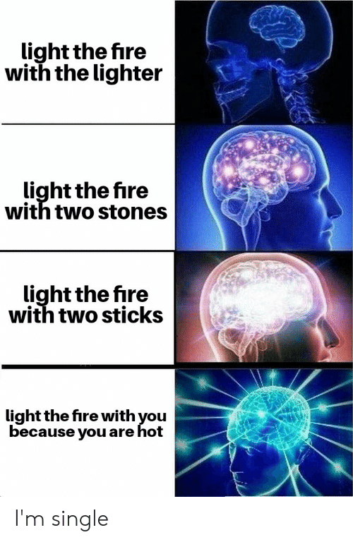 Fire, Reddit, and Single: light the fire  with the lighter  light the fire  with two stones  light the fire  with two sticks  light the fire with you  because you are hot I'm single