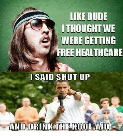 Kool Aid: LIKE DUDE  ITHOUGHT WE  WERE GETTING  FREE HEALTHCARE  ISAID SHUT UP  AND-DRINICTHE KOOL-AID