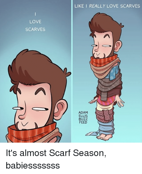 Buzzed: LIKE I REALLY LOVE SCARVES  LOVE  SCARVES  ADAM  ELLIS  BUZZ  FEED It's almost Scarf Season, babiesssssss