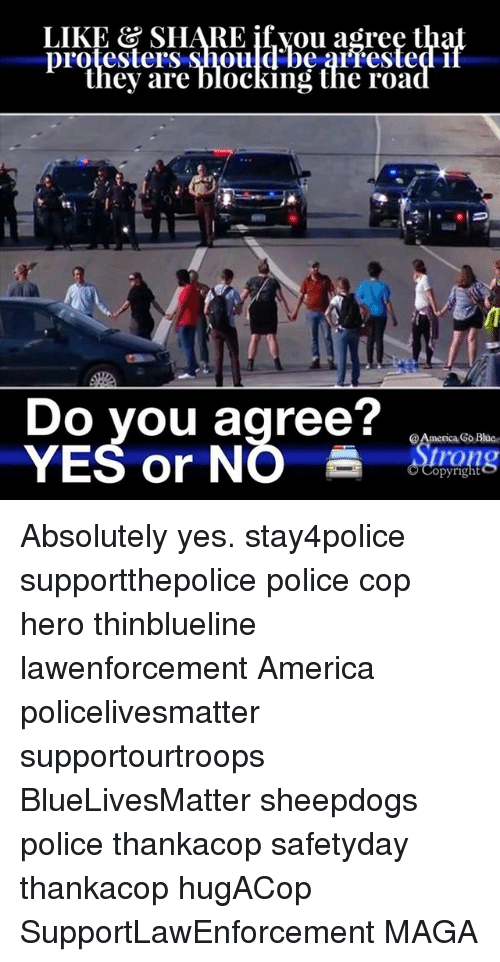 Sheepdog Police: LIKE & SHARE if you agree t  they are blocking the road  Do you agree?  @America Go Blue  YES or NO  opyright Absolutely yes. stay4police supportthepolice police cop hero thinblueline lawenforcement America policelivesmatter supportourtroops BlueLivesMatter sheepdogs police thankacop safetyday thankacop hugACop SupportLawEnforcement MAGA