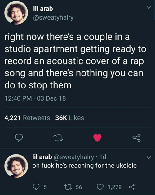 couple: lil arab  @sweatyhairy  right now there's a couple in a  studio apartment getting ready to  record an acoustic cover of a rap  song and there's nothing you can  do to stop them  12:40 PM · 03 Dec 18  4,221 Retweets 36K Likes  27  lil arab @sweatyhairy · 1d  oh fuck he's reaching for the ukelele  27 56  1,278