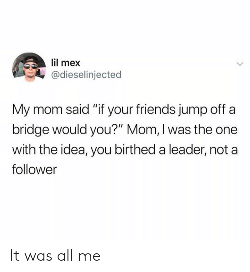 """Jump Off: lil mex  @dieselinjected  My mom said """"if your friends jump off a  bridge would you?"""" Mom, I was the one  with the idea, you birthed a leader, not a  follower It was all me"""