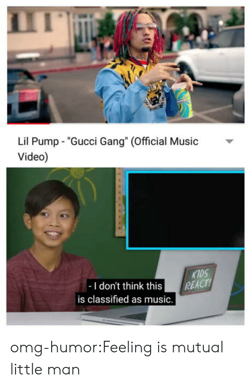 "classified: Lil Pump ""Gucci Gang"" (Official usic  Video)  KIDS  -I don't think this REACT  is classified as music. omg-humor:Feeling is mutual little man"