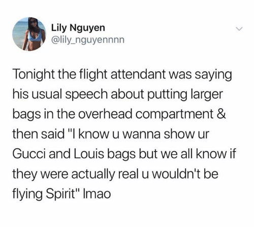 """Gucci, Flight, and Spirit: Lily Nguyen  @lily_nguyennnn  Tonight the flight attendant was saying  his usual speech about putting larger  bags in the overhead compartment &  then said """"I know u wanna show ur  Gucci and Louis bags but we all know if  they were actually real u wouldn't be  flying Spirit"""" Imao"""