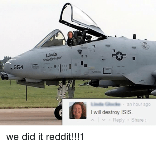 we did it reddit: Linda  PainBring  8 2  er  -954  G  an hour ago  I will destroy ISIS  Reply-Share <p>we did it reddit!!!1</p>