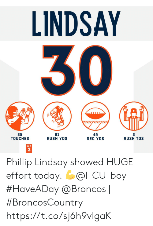 Memes, Broncos, and Rush: LINDSAY  30  25  TOUCHES  81  RUSH YDS  49  REC YDS  RUSH TDS  WK  3 Phillip Lindsay showed HUGE effort today. ?@I_CU_boy #HaveADay   @Broncos | #BroncosCountry https://t.co/sj6h9vIgaK