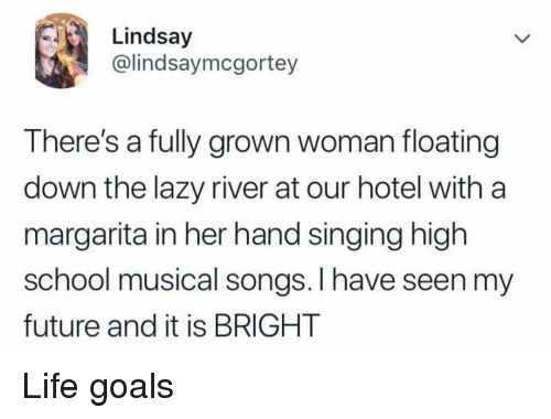 High School Musical: Lindsay  @lindsaymcgortey  There's a fully grown woman floating  down the lazy river at our hotel with a  margarita in her hand singing high  school musical songs. I have seen my  future and it is BRIGHT Life goals