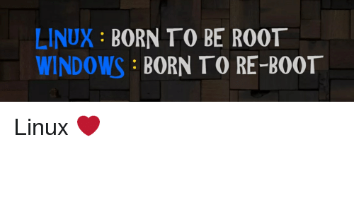 LINUX BORN TO BE ROOT WINDOWS BORN TO RE-BOOT | Windows Meme
