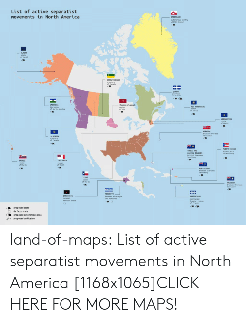 de facto: List of active separatist  movements in North America  autononous country  ALASKA  of the US  province  of Canada  QUEBEC  of Canada  BLoregLon  of North Anerica  Republic of Lakotah  regton  of USA  of the US  of the us  BERMUDA  British Overseas  Territory  ALBERTIA  of Canada  TURKS AND  CAICOS ISLANDS  Brittsh Over  Terrttory  PUERTO RICAN  PUERTO RICO  us Territory  HANAII  THE SOUTH  of the US  of the u  Territory  TEXAS  of the US  British Overseas  Territory  ZAPATISTA  CHIAPAS  Pextcan state  MOSQUITO  Betveen Nicaregua  and Honduras  ARTENIQUE  Insular regton  of France  proposed state  de facto state  ·K land-of-maps:  List of active separatist movements in North America [1168x1065]CLICK HERE FOR MORE MAPS!