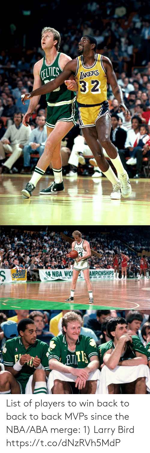 Back to Back: List of players to win back to back to back MVPs since the NBA/ABA merge:  1) Larry Bird https://t.co/dNzRVh5MdP