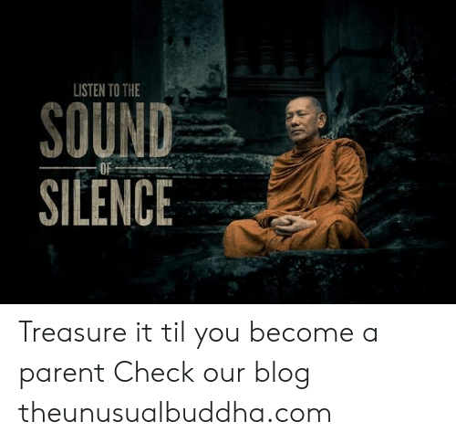 Memes, Blog, and Silence: LISTEN TO THE  SOUND-  SILENCE Treasure it til you become a parent Check our blog theunusualbuddha.com