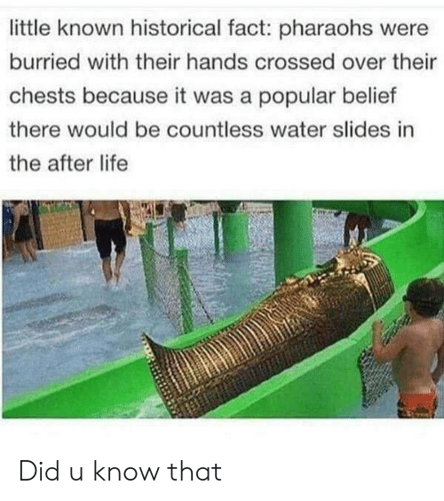 Life, Water, and Historical: little known historical fact: pharaohs were  burried with their hands crossed over their  chests because it was a popular belief  there would be countless water slides in  the after life Did u know that