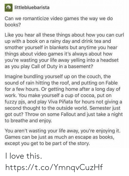 viva: littlebluebarista  Can we romanticize video games the way we do  books?  Like you hear all these things about how you can curl  up with a book on a rainy day and drink tea and  smother yourself in blankets but anytime you hear  things about video games it's always about how  you're wasting your life away yelling into a headset  as you play Call of Duty in a basement?  Imagine bundling yourself up on the couch, the  sound of rain hitting the roof, and putting on Fable  for a few hours. Or getting home after a long day of  work. You make yourself a cup of cocoa, put on  fuzzy pjs, and play Viva Piñata for hours not giving a  second thought to the outside world. Semester just  got out? Throw on some Fallout and just take a night  to breathe and enjoy  You aren't wasting your life away, you're enjoying it.  Games can be just as much an escape as books  except you get to be part of the story. I love this. https://t.co/YmnqvCuzHf