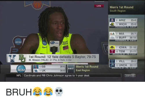 Chris Johnson: LIVE  1st Round: 12 Yale defeats 5 Baylor, 79-75  M. Mason (YALE): 31 Pts, 6 Reb, 4 Ast  940 ET  Men's 1st Round  13SB  26-6  East Region  26.8  NFL Cardinals and RB Chris Johnson agree to 1-year deal.  Men's 1st Round  South Region  6 ARIZ 25-8  11 WICH  25-8  PROVIDENCE  3 MIA 25-7  14 BUFF 20.14  7 IOWA 21-10  T 10 TEM 21-11  2 VILL  29-5  5 UNCA 22.11  KLYN, NY-FRI, 1240 ET BRUH😂😂💀