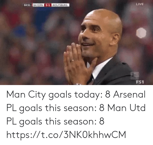 Bayern: LIVE  59.51 BAYERN 51 WOLESBURG  FS1 Man City goals today: 8  Arsenal PL goals this season: 8  Man Utd PL goals this season: 8 https://t.co/3NK0khhwCM