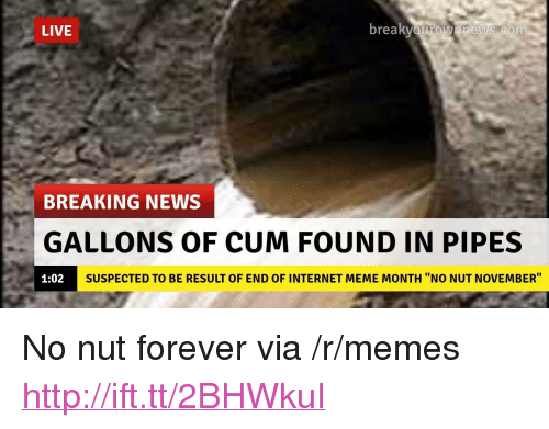 "internet meme: LIVE  br  eaKvOurOwnnews.com  BREAKING NEWS  GALLONS OF CUM FOUND IN PIPES  1:02  SUSPECTED TO BE RESULT OF END OF INTERNET MEME MONTH ""NO NUT NOVEMBER"" <p>No nut forever via /r/memes <a href=""http://ift.tt/2BHWkuI"">http://ift.tt/2BHWkuI</a></p>"