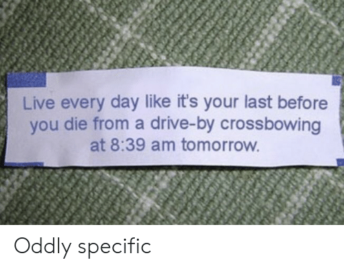 Drive By, Drive, and Live: Live every day like it's your last before  you die from a drive-by crossbowing  at 8:39 am tomorrow Oddly specific
