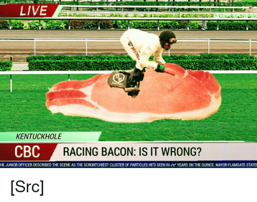 Reddit, Live, and Morality: LIVE  KENTUCKHOLE  CBC  RACING BACON: IS IT WRONG?  HE JUNIOR OFFICER DESCRIBED THE SCENE AS THE SCRONTCHIEST CLUSTER OF PARTICLES HE'D SEEN IN Vr' YEARS ON THE QUINCE MAYOR FLAMGATE STATE [Src]