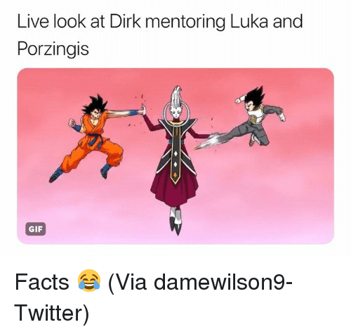 Basketball, Facts, and Gif: Live look at Dirk mentoring Luka and  Porzingis  GIF Facts 😂 (Via damewilson9-Twitter)