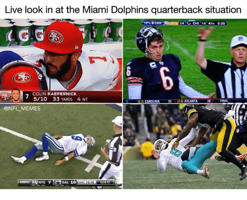 Miami Dolphins: Live look in at the Miami Dolphins quarterback situation  14 CHI 14 4TH 0:20  COLIN KAEPERNICK  5/10 33 YARDS 4 INT  2020) ATLANTA  FINAL  0-2) CAROLINA  28  @NFL MEMES  NYG