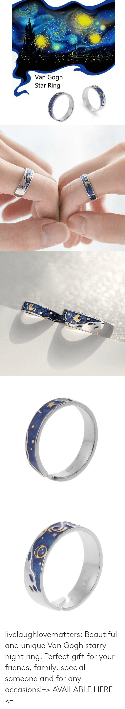 van: livelaughlovematters:  Beautiful and unique Van Gogh starry night ring. Perfect gift for your friends, family, special someone and for any occasions!=> AVAILABLE HERE <=