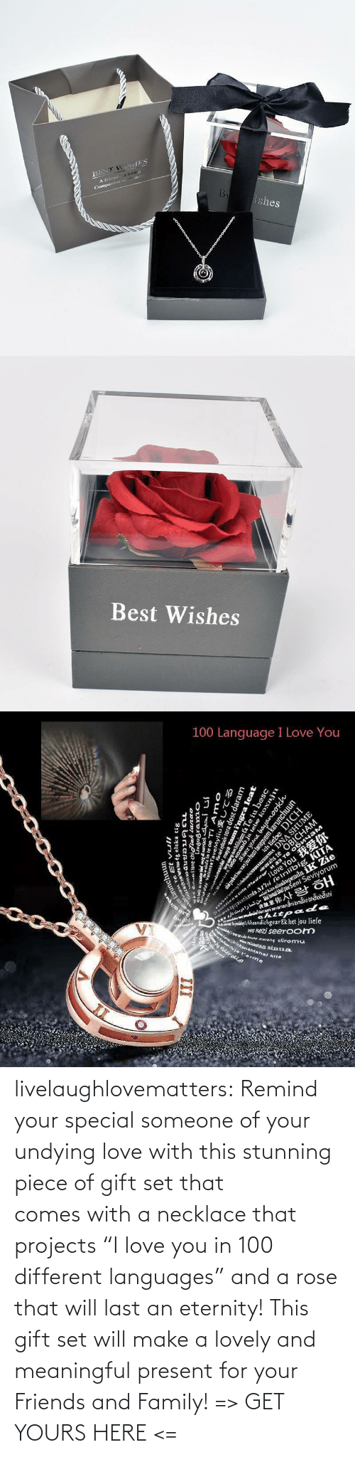 "Blog: livelaughlovematters:  Remind your special someone of your undying love with this stunning piece of gift set that comes with a necklace that projects ""I love you in 100 different languages"" and a rose that will last an eternity! This gift set will make a lovely and meaningful present for your Friends and Family! => GET YOURS HERE <="