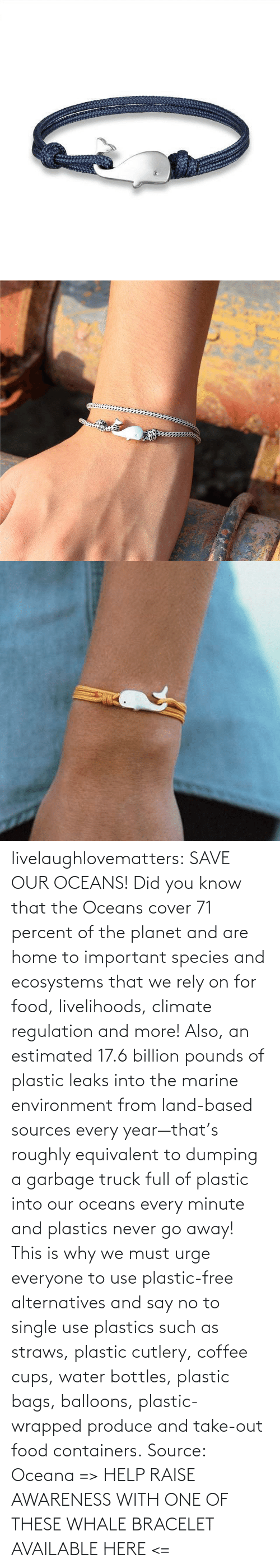 planet: livelaughlovematters: SAVE OUR OCEANS!  Did you know that the Oceans cover 71 percent of the planet and are home to important species and ecosystems that we rely on for food, livelihoods, climate regulation and more! Also, an estimated 17.6 billion pounds of plastic leaks into the marine environment from land-based sources every year—that's roughly equivalent to dumping a garbage truck full of plastic into our oceans every minute and plastics never go away! This is why we must urge everyone to use plastic-free alternatives and say no to single use plastics such as straws, plastic cutlery, coffee cups, water bottles, plastic bags, balloons, plastic-wrapped produce and take-out food containers. Source: Oceana => HELP RAISE AWARENESS WITH ONE OF THESE WHALE BRACELET AVAILABLE HERE <=