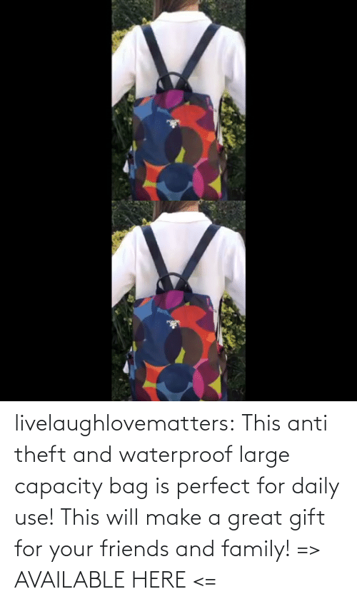 Anti: livelaughlovematters: This anti theft and waterproof large capacity bag is perfect for daily use! This will make a great gift for your friends and family! => AVAILABLE HERE <=