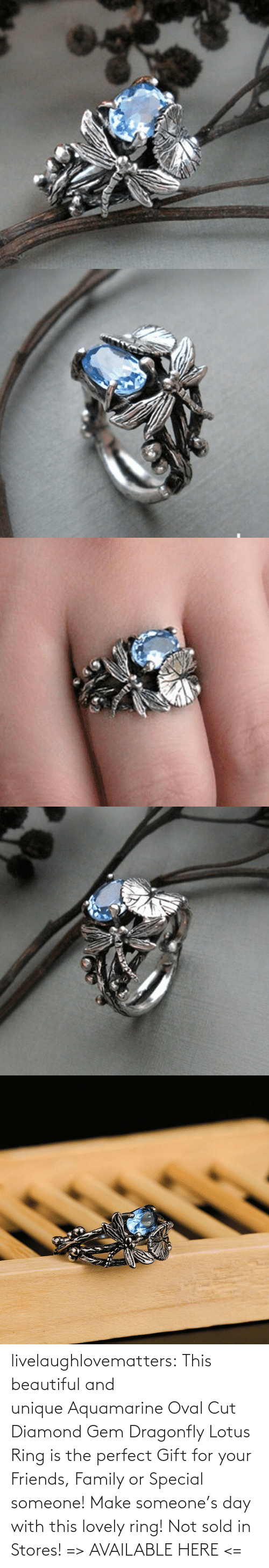 Sold: livelaughlovematters: This beautiful and unique Aquamarine Oval Cut Diamond Gem Dragonfly Lotus Ring is the perfect Gift for your Friends, Family or Special someone! Make someone's day with this lovely ring! Not sold in Stores! => AVAILABLE HERE <=