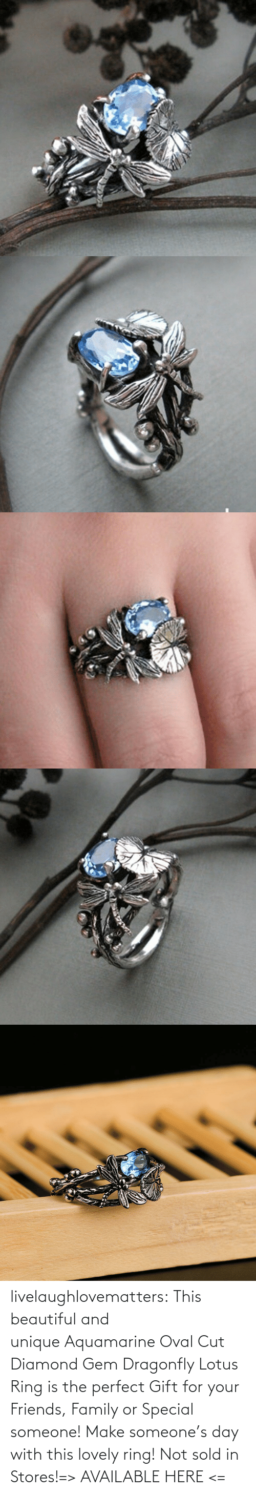 Diamond: livelaughlovematters:  This beautiful and unique Aquamarine Oval Cut Diamond Gem Dragonfly Lotus Ring is the perfect Gift for your Friends, Family or Special someone! Make someone's day with this lovely ring! Not sold in Stores!=> AVAILABLE HERE <=
