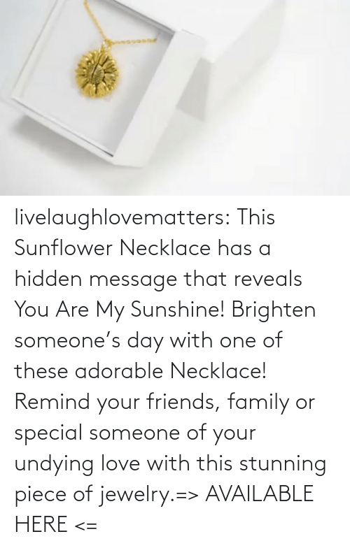 hidden: livelaughlovematters:  This Sunflower Necklace has a hidden message that reveals You Are My Sunshine! Brighten someone's day with one of these adorable Necklace! Remind your friends, family or special someone of your undying love with this stunning piece of jewelry.=> AVAILABLE HERE <=