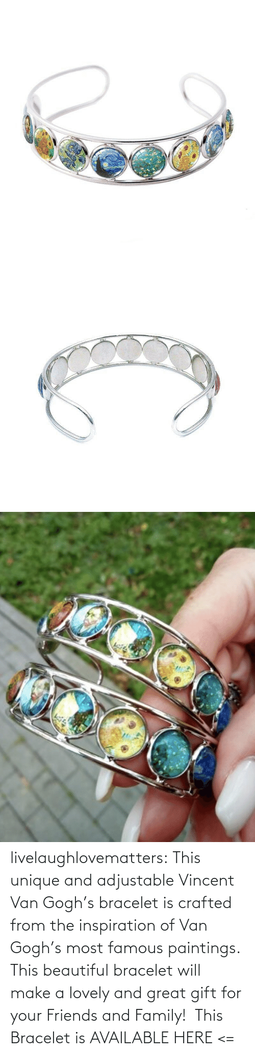 Inspiration: livelaughlovematters: This unique and adjustable Vincent Van Gogh's bracelet is crafted from the inspiration of Van Gogh's most famous paintings. This beautiful bracelet will make a lovely and great gift for your Friends and Family!  This Bracelet is AVAILABLE HERE <=