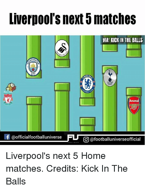 kicked in the balls: Liverpool S next 8matches  VIA: KICK IN THE BALLS  WEA  CHE  CITY  ELSE  Arsenal  f @official footballuniverse  FU CO afootballuniverseofficial Liverpool's next 5 Home matches. Credits: Kick In The Balls