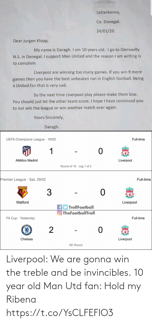 old man: Liverpool: We are gonna win the treble and be invincibles.  10 year old Man Utd fan: Hold my Ribena https://t.co/YsCLFEFIO3