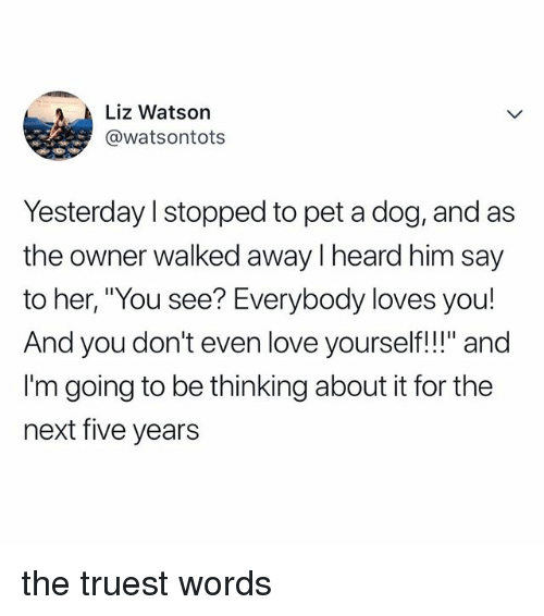 """Love, Relatable, and Her: Liz Watson  @watsontots  Yesterday l stopped to pet a dog, and as  the owner walked away I heard him say  to her, """"You see? Everybody loves you!  And you don't even love yourself!!"""" and  I'm going to be thinking about it for the  next five years the truest words"""