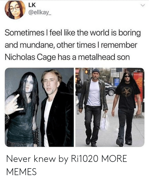 Dank, Memes, and Target: LK  @ellkay  Sometimes I feel like the world is boring  and mundane, other times I remember  Nicholas Cage has a metalhead son  守 Never knew by Ri1020 MORE MEMES