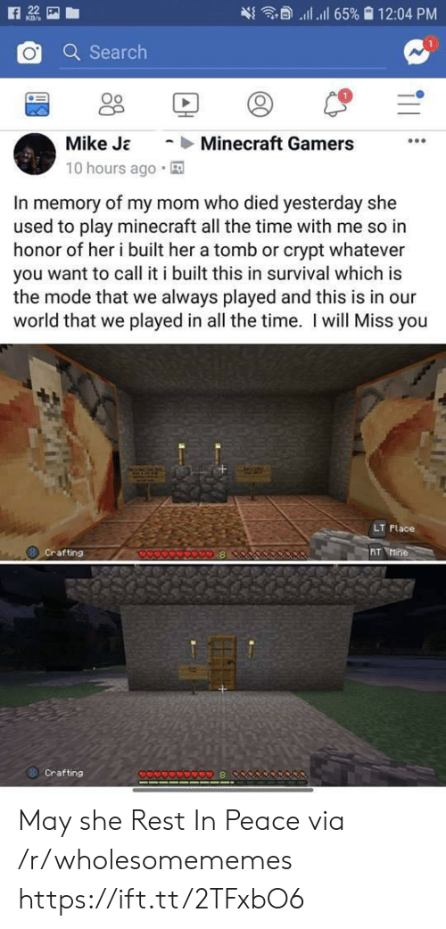 crafting: ll 65% 12:04 PM  22  KB/s  Q Search  Minecraft Gamers  Mike Ja  10 hours ago  In memory of my mom who died yesterday she  used to play minecraft all the time with me so in  honor of her i built her a tomb or crypt whatever  you want to call it i built this in survival which is  the mode that we always played and this is in our  world that we played in all the time. I will Miss you  LT Place  AT Mine  Crafting  8  Crafting  8  T11 May she Rest In Peace via /r/wholesomememes https://ift.tt/2TFxbO6