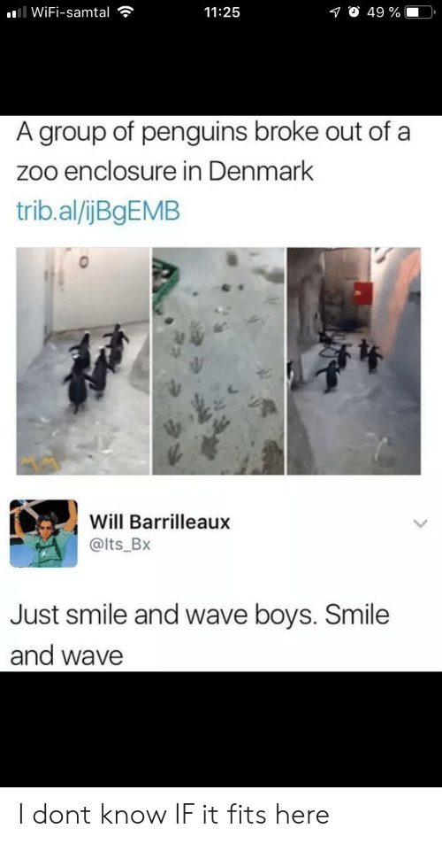 Denmark: ll WiFi-samtal  O 49 %  11:25  A group of penguins broke out of a  zoo enclosure in Denmark  trib.al/ijBgEMB  Will Barrilleaux  @lts_Bx  Just smile and wave boys. Smile  and wave I dont know IF it fits here