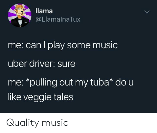 Music, Uber, and Veggie Tales: llama  @LlamalnaTux  me: can l play some music  uber ariver: Sure  me: *pulling out my tuba* do u  like veggie tales Quality music