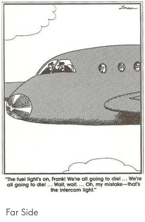"mistake: Lmoon  ""The fuel light's on, Frank! We're all going to die! ... We're  all going to die!... Wait, wait.... Oh, my mistake-that's  the intercom light."" Far Side"