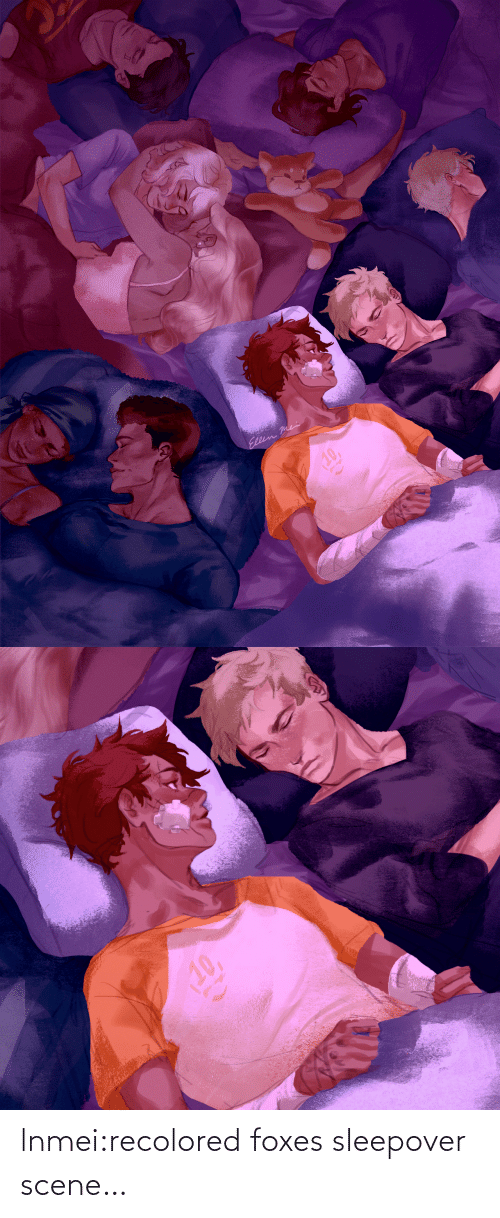 foxes: lnmei:recolored foxes sleepover scene…