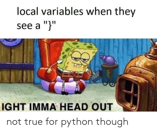 """Head, True, and Python: local variables when they  see a """")""""  IGHT IMMA HEAD OUT not true for python though"""