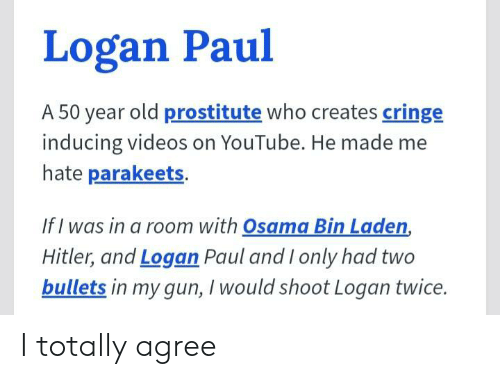 50 Year Old: Logan Paul  A 50 year old prostitute who creates cringe  inducing videos on YouTube. He made me  hate parakeets.  If I was in a room with Osama Bin Laden,  Hitler, and Logan Paul and I only had two  bullets in my gun, I would shoot Logan twice. I totally agree