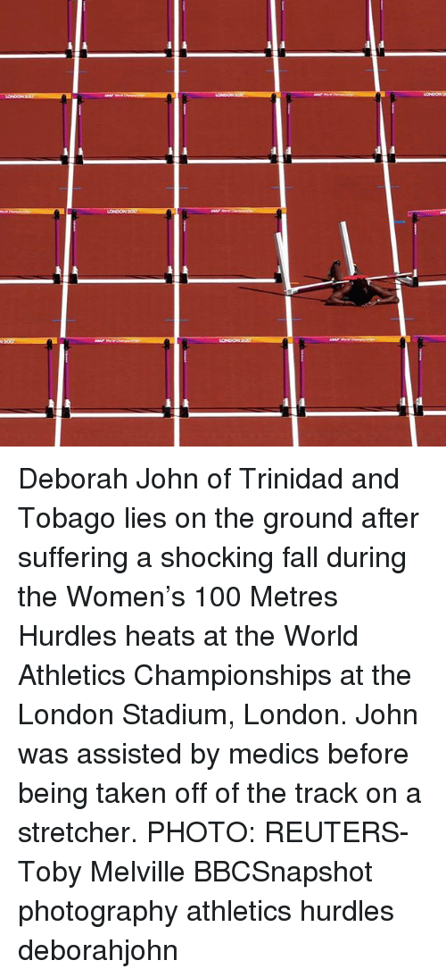 Athletics: LONDON 207 Deborah John of Trinidad and Tobago lies on the ground after suffering a shocking fall during the Women's 100 Metres Hurdles heats at the World Athletics Championships at the London Stadium, London. John was assisted by medics before being taken off of the track on a stretcher. PHOTO: REUTERS-Toby Melville BBCSnapshot photography athletics hurdles deborahjohn