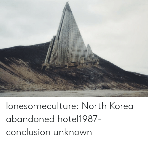North Korea, Tumblr, and Blog: lonesomeculture: North Korea abandoned hotel1987-conclusion unknown