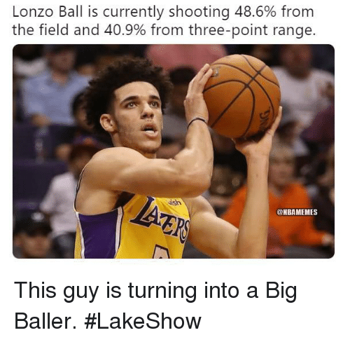 Baller: Lonzo Ball is currently shooting 48.6% from  the field and 40.9% from three-point range  ish  @NBAMEMES This guy is turning into a Big Baller. #LakeShow