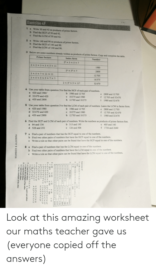 Worksheet: Look at this amazing worksheet our maths teacher gave us (everyone copied off the answers)