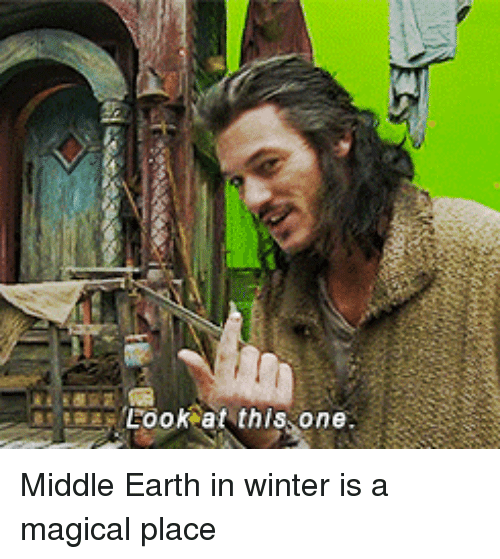 Funny, Winter, and Earth: Look at this one Middle Earth in winter is a magical place